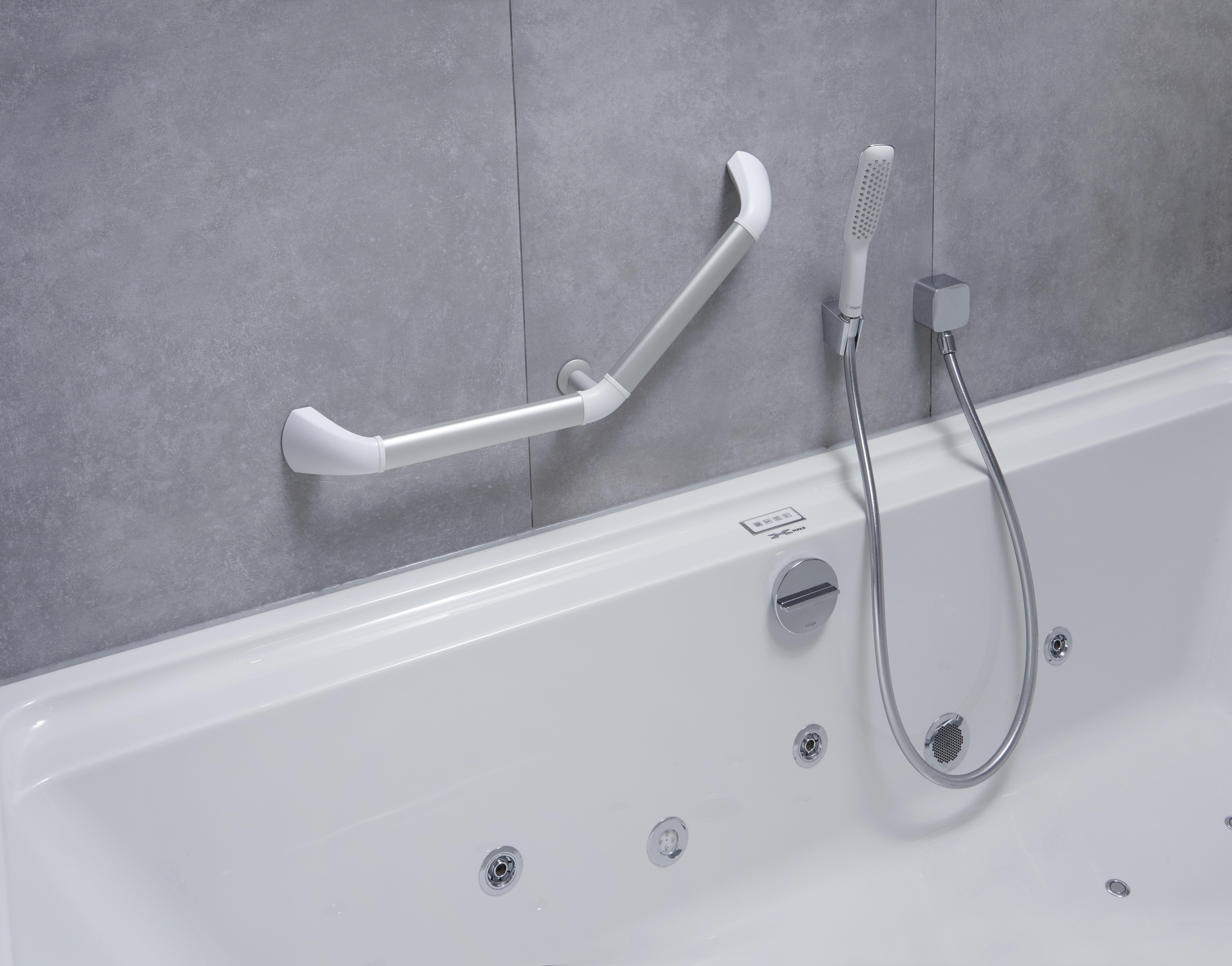Asidero de aluminio para bañera en 45 grados