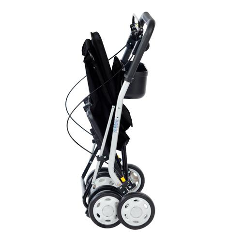 Carrito de la compra andador Lett 800 negro plegado para personas con movilidad reducida
