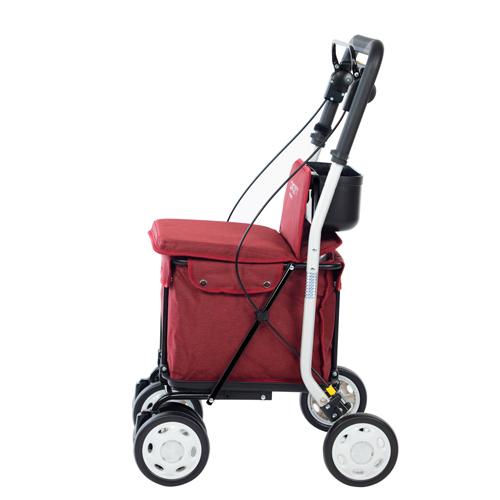 Foto lateral del carrito de la compra andador Lett 800 rojo para personas con movilidad reducida